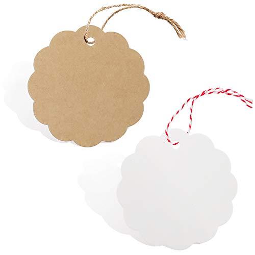 SallyFashion Kraftpapier Anhänger, 200 Stk. Geschenkanhänger Etiketten Kraftpapier Tags Karten mit Jute Schnur für Hochzeit Geschenk Weihnachten