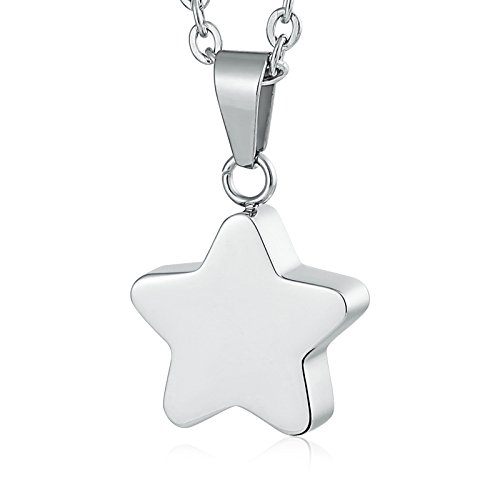 AMDXD Stainless Steel Ashes Pendant Urn Necklaces for Ashes Star Silver Necklace ()