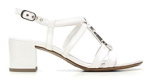 Nero Giardini Moyen Heel Sandal Femmes Cuir Item P615540D 707 Blanc P6 15540 D