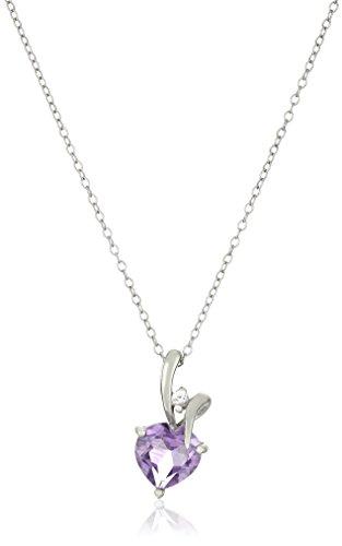 Sterling Silver Heart Shape Amethyst Center Stone Pendant Necklace Stone Heart Shape Pendant