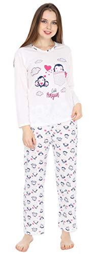 Kartex Women's Long Sleeve V-Neck Pajamas Set (Penguin, Medium)