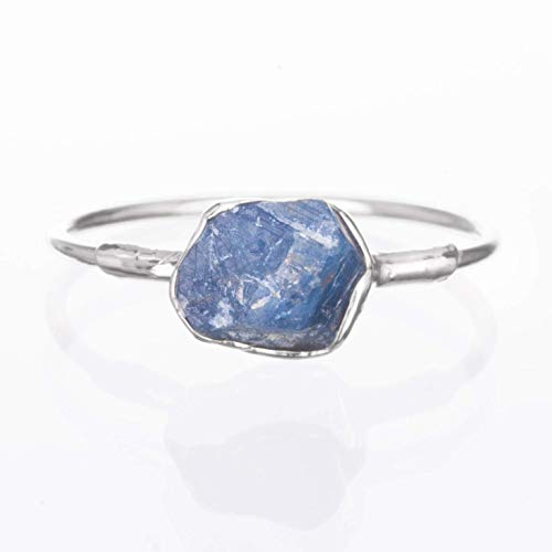 Silver Sapphire Ring, Raw Gemstone, Size 7, September Birthstone