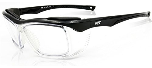 Safety Glasses Clear with Integrated Side Shields z87 2+ ANSI with Foam Brow Gloss Black Frame - Optical Quality Eyewear Protection by Rio Ray Optics (Glasses Safety Prescription)