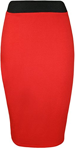 lastique 42 Jupes Femmes Uni 36 Tailles Rouge WearAll Droite Taille Jupe Midi YvFqEwH