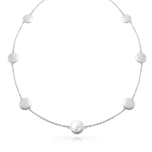 Simple White Tin Cup Station Freshwater Biwa Coin Cultured Pearl Necklace For Women For Bride Maid 925 Sterling Silver