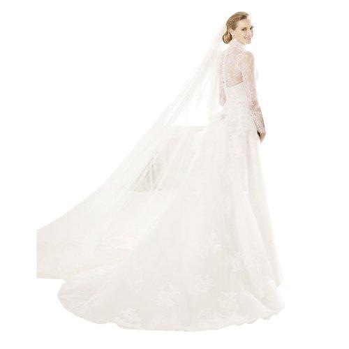 Hochzeitskleid Aemeln BRIDE Stehkragen Elegant Spitze Weiß GEOGE lang XpwYSqHH