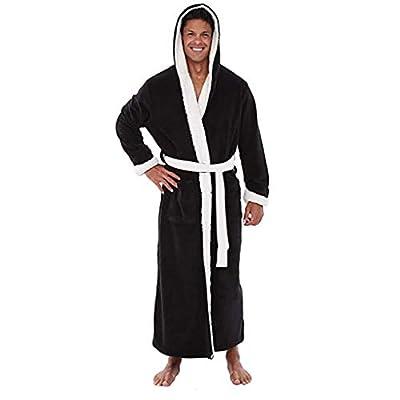 Realdo Mens Fleece Robe with Hood, Men's Plush Lengthened Shawl Home Clothes Hooded Belt Bathrobe