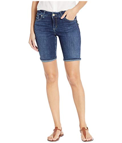 Silver Jeans Co. Women's Suki Curvy Fit Mid Rise Bermuda Shorts, Power Stretch Dark, 26W x 9L ()
