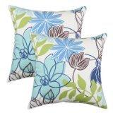Brite Ideas Living & CO Monaco Breeze Solid-Back KE Fiber Pillow, 17 by 17-Inch, Set of 2 (Ottoman Monaco)