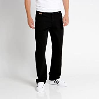 9c015a12 Wrangler-Black comfort fit 'Ohio' relaxed fit jeans-40S: Amazon.co.uk:  Clothing