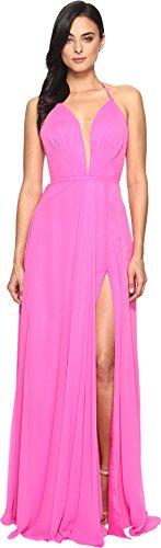Faviana Women's Chiffon V-Neck Gown w/ Full Skirt 7747 Cherry Pink Dress