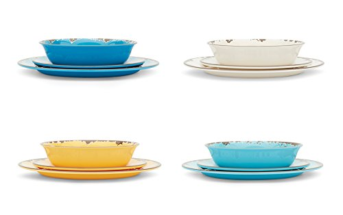 Fox Run 48734 12 Piece Rustic Look Antique Melamine Dinnerware (Set of 4), Multicolor