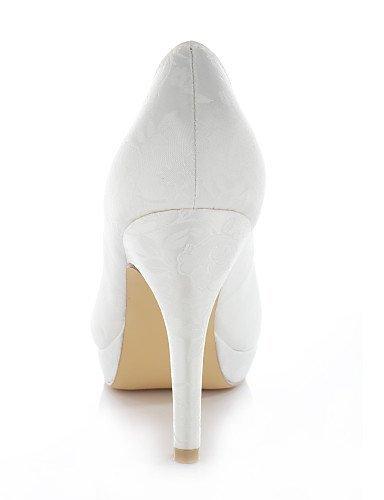 ShangYi Schuh Damen - Hochzeitsschuhe - Absätze / Rundeschuh - High Heels - Hochzeit / Kleid / Party & Festivität - Blau / Lila / Elfenbein / Silber , 4in-4 3/4in-blue