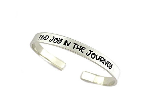 Find Joy In The Journey Cuff Bracelet – Thick Pewter Cuff Bracelet – Hand Stamped Jewelry – Personalized Jewelry