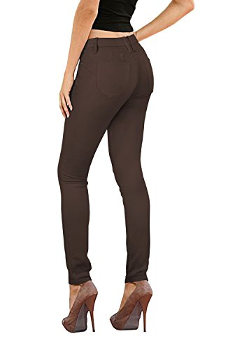 (Women's Butt Lift Stretch Denim Jeans-P37364SK-BROWN-9)