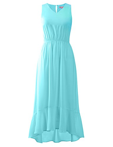 Regna X wrap Beach Boho Summer Casual Loose Maxi Dresses for Women Blue Ocean ()