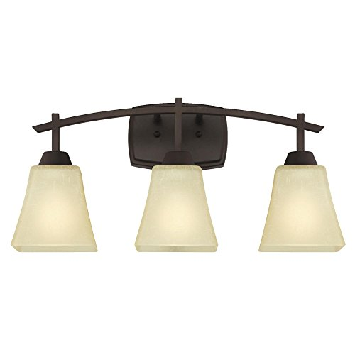 Westinghouse Lighting 6307500 Midori Three-Light Indoor Wall Fixture, Oil Rubbed Bronze Finish with Amber Linen Glass