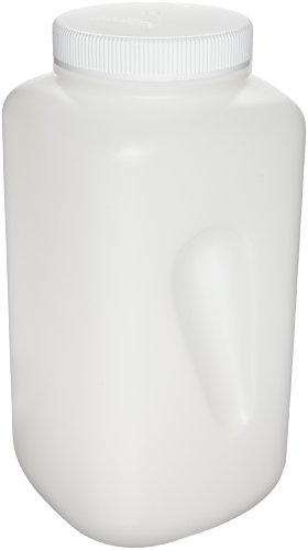Nalgene 2123-0010 Wide-Mouth Square Bottle, HDPE, Large, 4L
