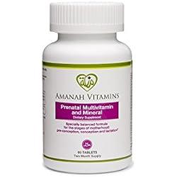 AMANAH VITAMINS - Prenatal Multivitamin & Mineral - HALAL VITAMINS - 60 Tablets