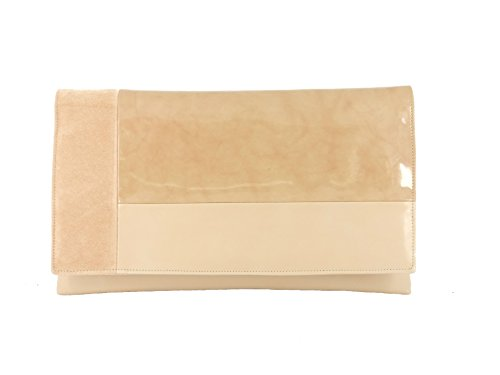 Nude Shoulder Suede Clutch Bag Contrast Leather Patent LONI Faux Beige zTAOHnF