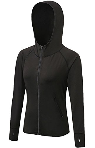 Tailloday Woman's Active Yoga Sweatshirt Full Zip Fitness Compression Training Running Long Sleeve T-Shirt Hooded Jacket (US XL, Black)