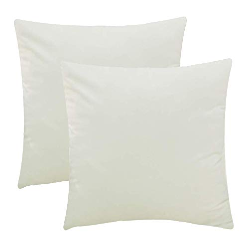 Jepeak Comfy Velvet Throw Pillow Covers, Pack of 2 Supersoft Decorative Pillow Cases Comfortable Solid Cushion Covers for Sofa Couch Bed (24 x 24 inches, Cream) from Jepeak