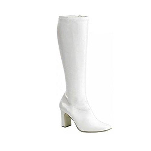 Women's Wide Width Gogo Boot, 3 Inch Block Heel (White (70's Disco Shoes Womens)