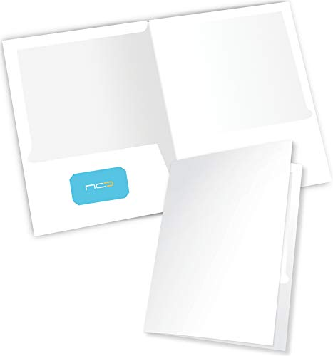 New Generation - White - 2 Pocket Folders Durable Heavy Duty HIGH Gloss Presentation Portfolios,Hold Letter Size Sheets with a die-Cut Business Card Holder (6 Pack Laminated Presentation FOLDERS)