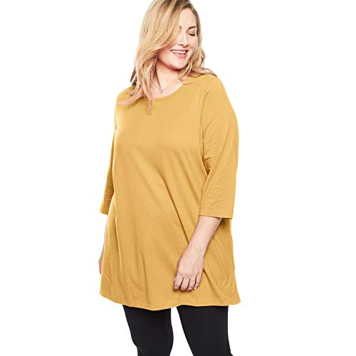 Woman Within Women's Plus Size Perfect Scoop Neck Three-Quarter Sleeve Tunic - Desert Yellow, L