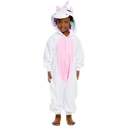 Silver Lilly Kids Unicorn Animal Costume - Childrens One Piece Pajamas (Pink Boxer Costume Halloween)