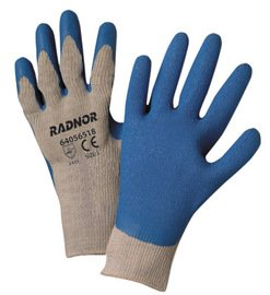 Radnor Glove Economy Large 10 Gauge Cotton/Polyester String Knit Blue Latex Palm And Fingertip Continuous Knit Cuff Natural -1 Dozen Pairs