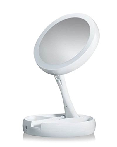 PiggiesC Double-Sided LED Lighted Foldable Vanity 1X/10X Magnifying Makeup Mirror by PiggiesC (Image #2)