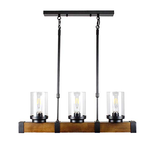 (Metal Wood and Glass Chandelier Pendant Light Retro Rustic Loft Antique Lamp,3 Lights Retro Pendant Light Fixture Rectangular Wood Frame Metal Hanging Chandeliers Ceiling Light Luminaire)