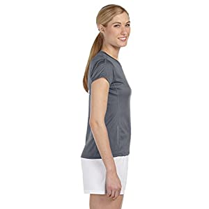 New Balance Ladies Tempo Performance T-Shirt, Small, Gravel