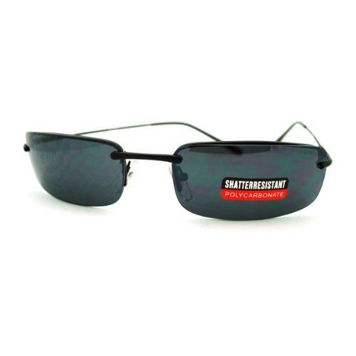 Mens Sunglasses Lite Weight Rectangular Rimless Thin Metal Frame - Frames Lite Glasses