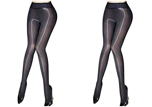 Kffyeye 8D Women's Control Top Thickness Stockings Pantyhose, Ultra Shimmery Stretch Plus Footed Tights(0812, 2pcs Black)