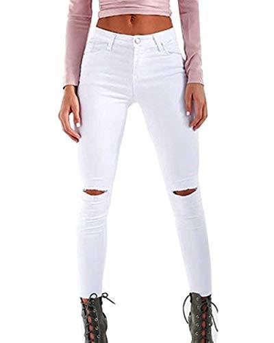 Pantalones Botón Blanco Stretch Cintura Jeans Ripped Rectos Color Alta Delanteros Skinny Sólido De Vaqueros Huixin Bolsillos dwZvd