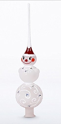 Christmas Tree Topper - Unique Collection of Blown Glass Xmas Tree Finials - Mouth-Blown, Hand-Painted Treetop Glass Season Decorations, Beautiful, Classic Christmas Tree Ornaments, 10 inch, - Painted Ornaments Hand Snowman