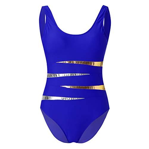 TnaIolral Women Print Bikini Tankini Swimjupmsuit Swimsuit Beachwear Padded Swimwear(M-4XL) (L, Blue)
