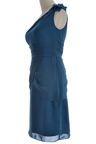 Aqua Women Formal Bridesmaid Short Shoulder Evening Cocktail Gown One Dress MACloth fxvPd4wf