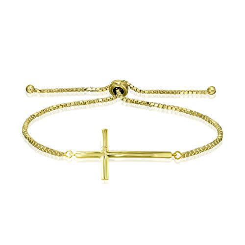 Sea of Ice Yellow Gold Flashed Sterling Silver Cross Box Chain Adjustable Bracelet