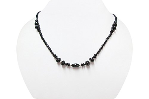 Black Spinel Beads Necklace Strand with Sterling Silver findings 16