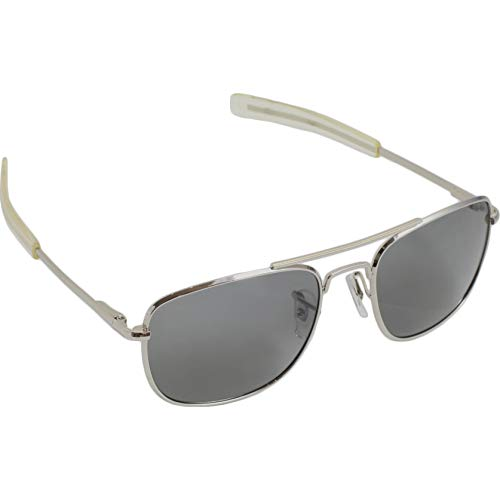 Humvee HMV-52B-SILVR Polarized Bayonette Style Military Sunglasses with Gray Lenses and Chrome Silver Frame, 52mm