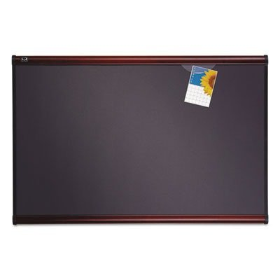 (Quartet Prestige Plus Heirloom Gray Diamond Mesh Bulletin Board - 36quot; Height x 48quot; Width - Mahogany Fabric Surface)