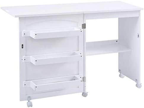 Giantex Folding Sewing Craft Table Sewing Craft Cart With Storage Shelves And Lockable Casters Folding Sewing Table For Apartment Small Spaces White 46 X16 X31 Au Kitchen