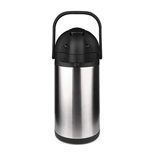74 Oz (2.2 Liter) Airpot Thermal Coffee Carafe/Lever Action/Stainless Steel Insulated Thermos / 12 Hour Heat Retention / 24 Hour Cold Retention