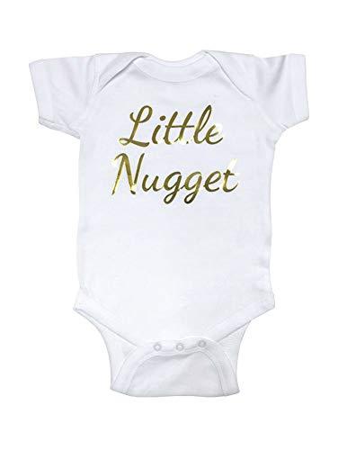 cute & funny Little Nugget - Gold Metallic Print Script Font - Baby Bodysuit Shower Gift (Newborn Bodysuit, White)