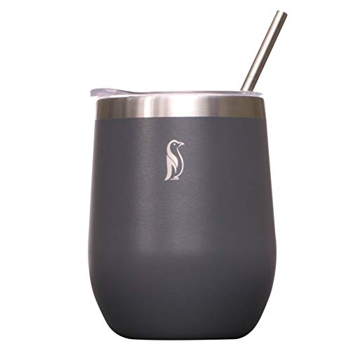 Sizzlin Penguin Insulated Wine Tumbler with Lid and Straw - Vacuum Sealed Stainless Steel 12 oz Stemless Travel Wine Glass - BPA Free (Gray)]()