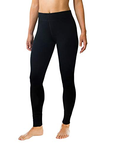 Woolx Womens Avery Midweight Merino Wool Base Layer Leggings For Warmth, Black, Medium