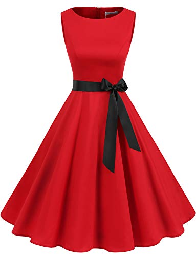 (Gardenwed Women's Audrey Hepburn Rockabilly Vintage Dress 1950s Retro Cocktail Swing Party Dress Red XL)